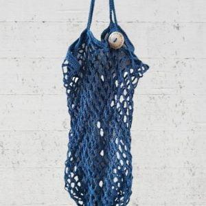 Boodschappennetje van 100% biologisch katoen in marineblauw