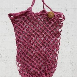 Boodschappennetje van katoen in rood violet